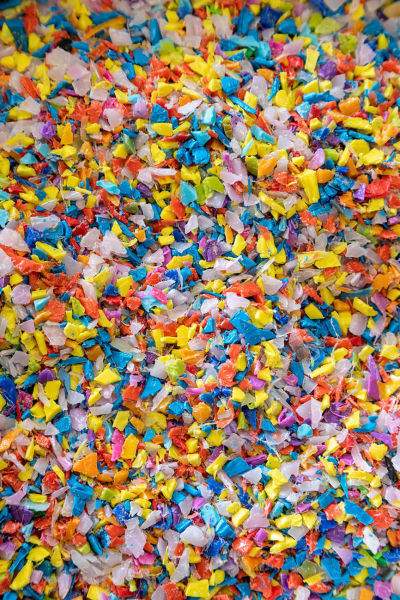 Close up of plastic pellets