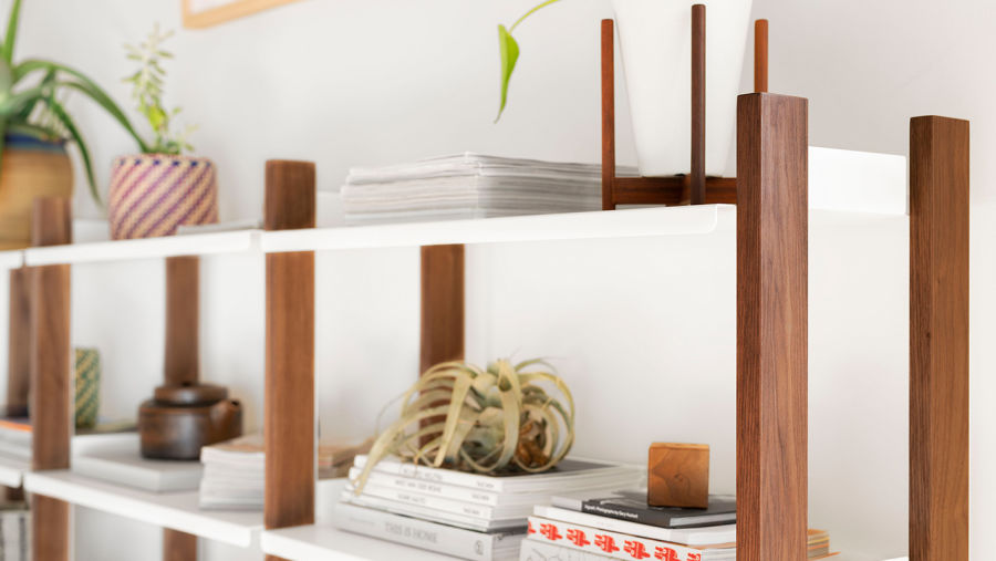 The Shelving System in Walnut/White Low