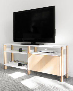 The Media Console in White/Ash with a Cabinet