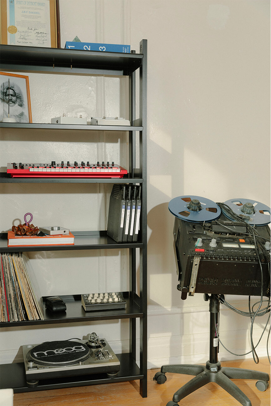 The Floyd Ghostly Shelf filled with vinyls and DJ equipment.