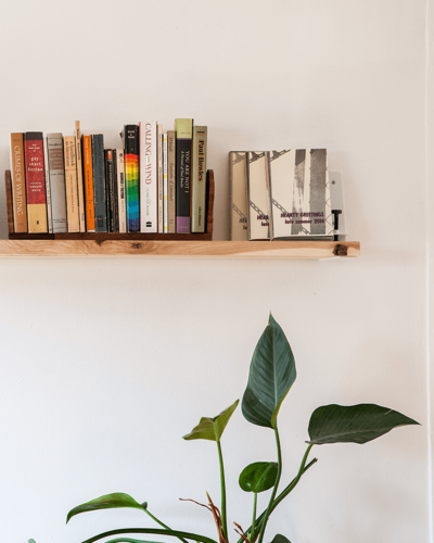 Shelf with books on it and plant underneath.