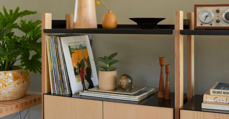 black shelving with cabinet