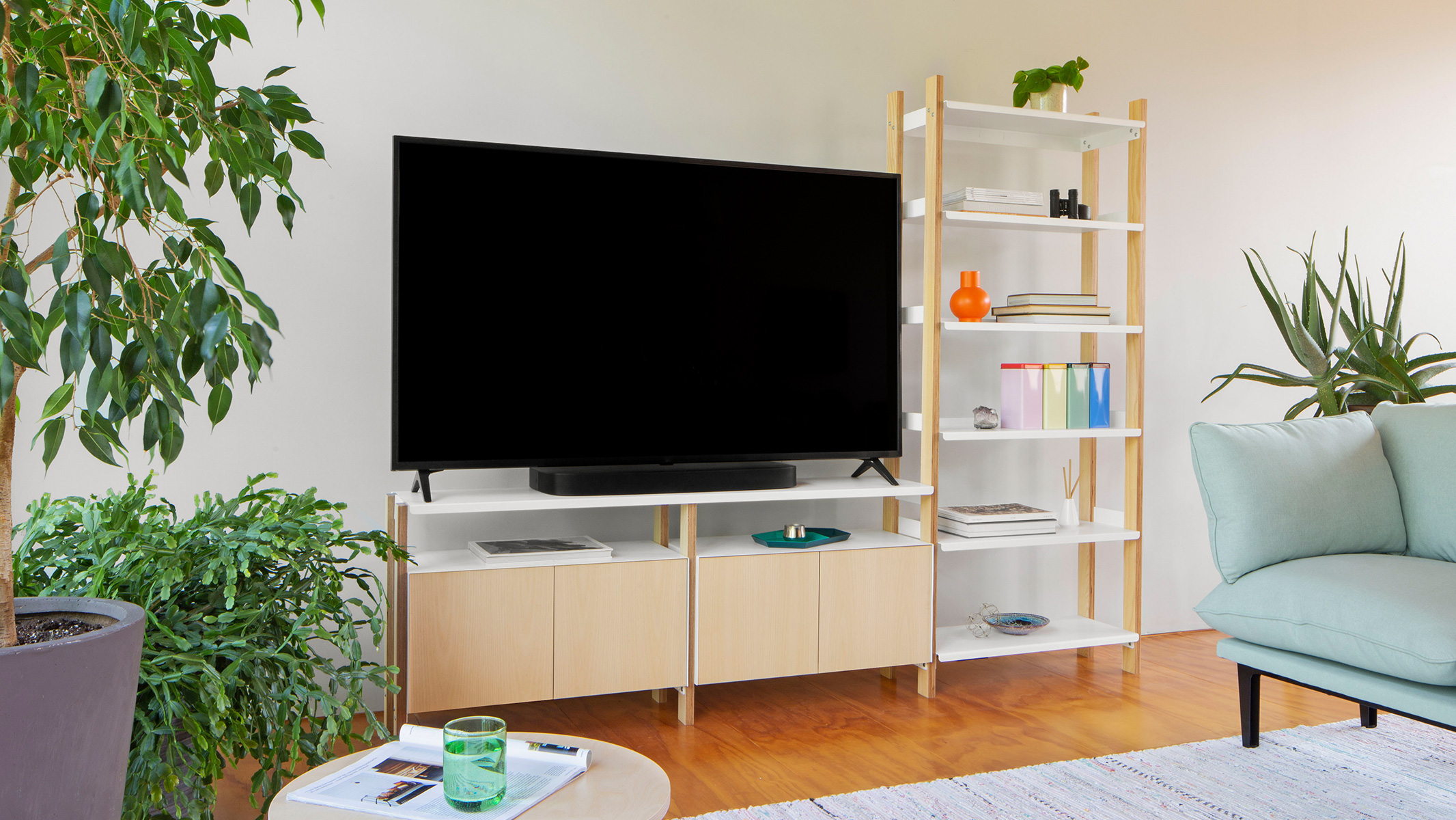 A Tall Shelf with Media Console Add-on & 2 Cabinets