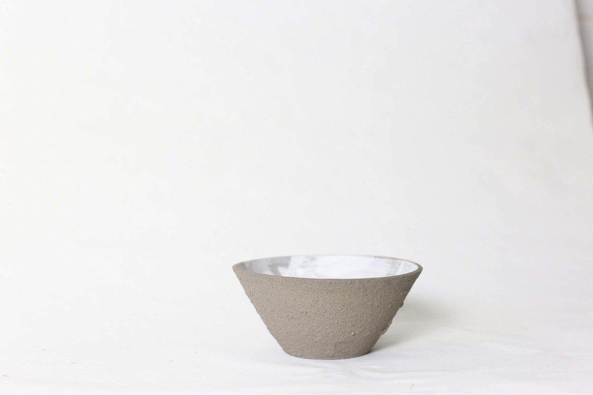 graphite color clay bowl on a white background 1