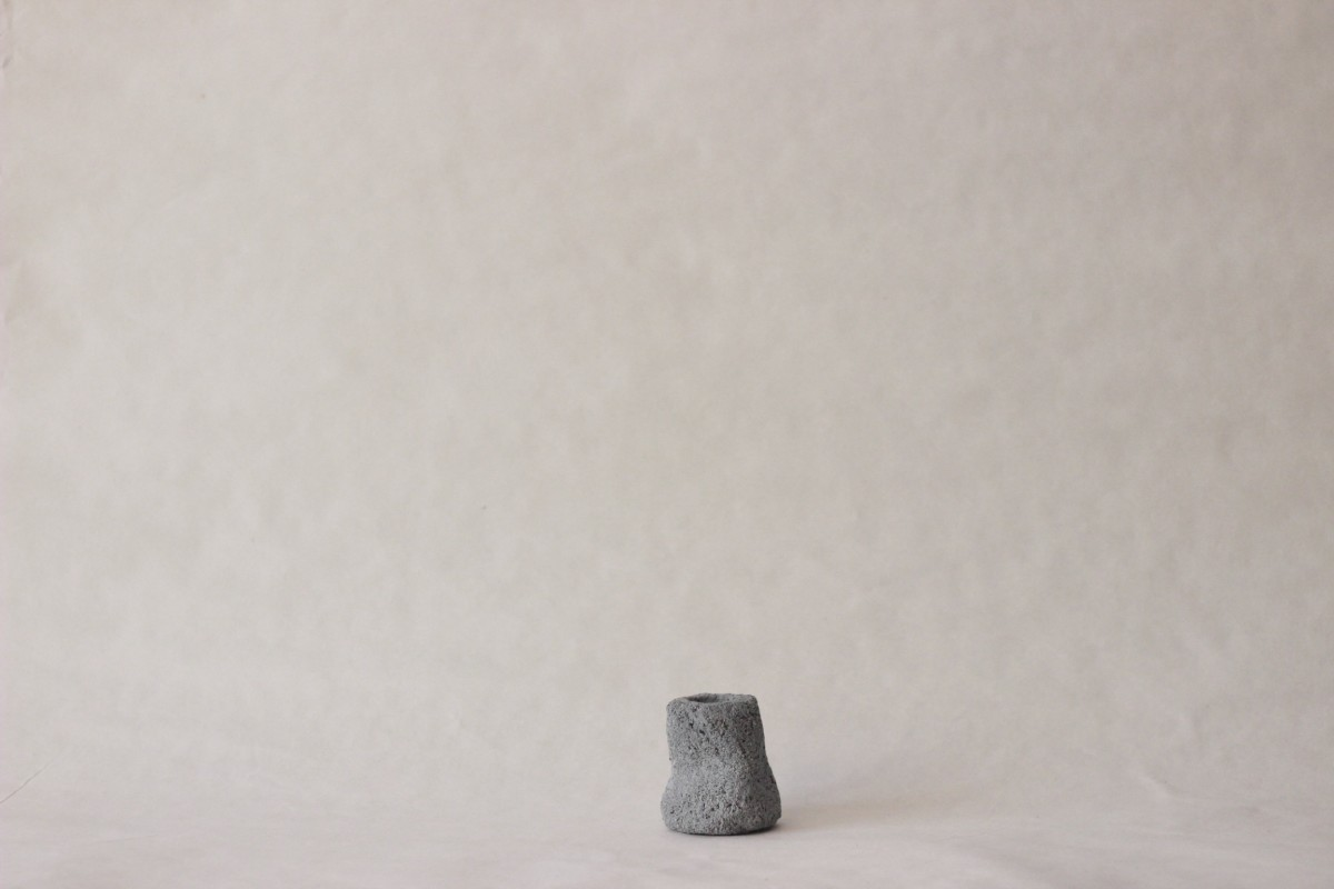 terrazzo blue clay candle holder on a gray background