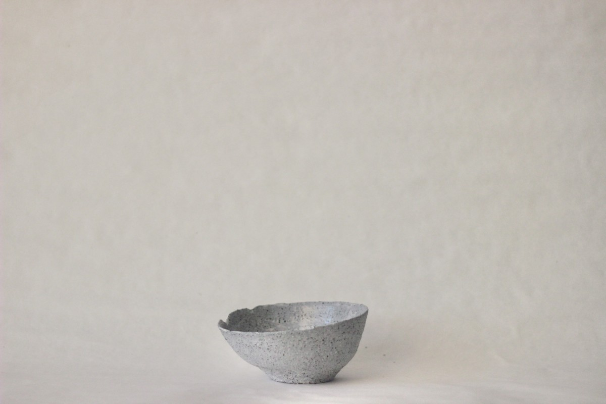 gray ceramic bowl on a gray background 3