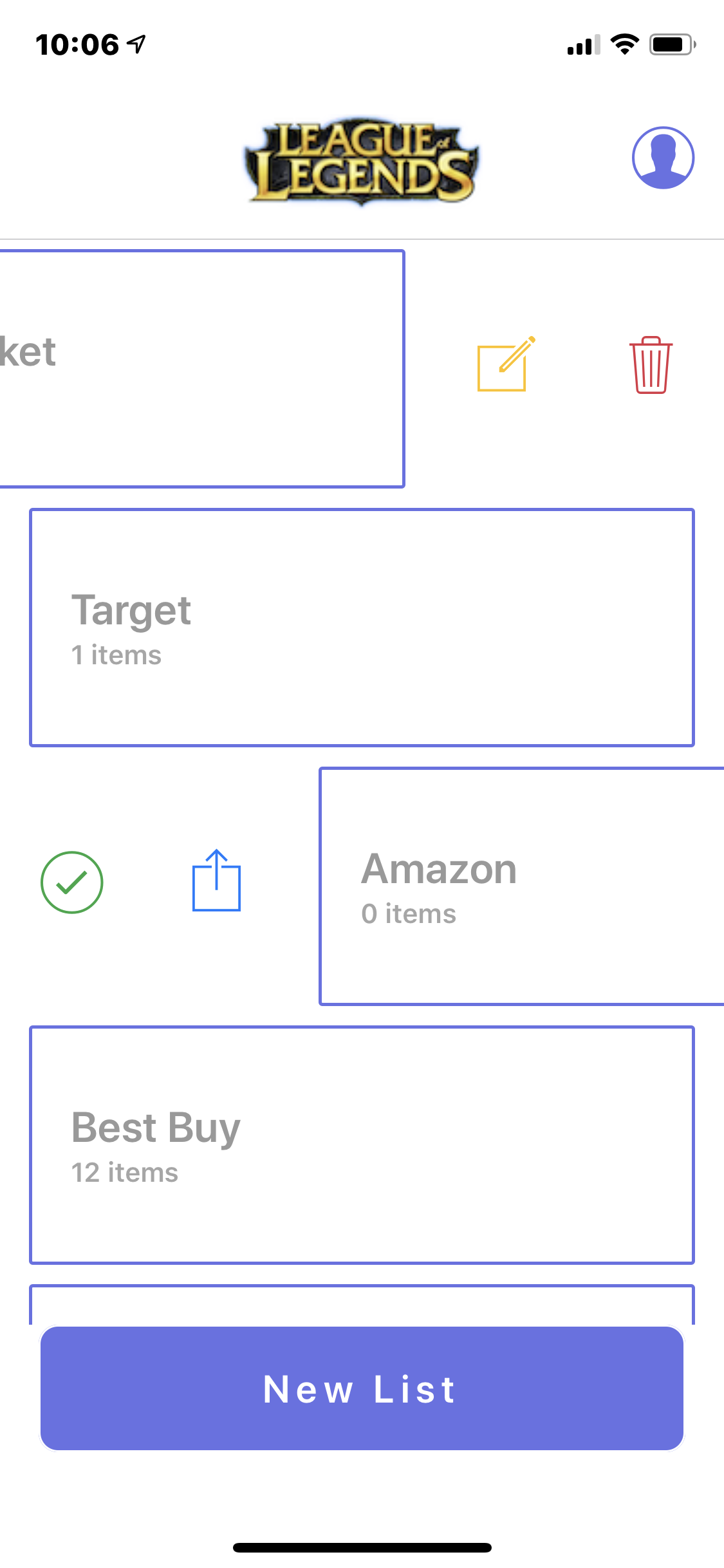 823b747f4 It's a shopping list app, you swipe right and see a delete and edit button,  swipe left and you see a button to complete the list or share the list.