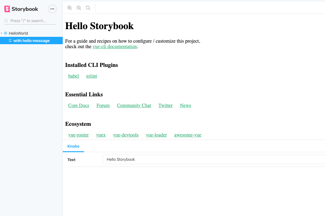 Storybook for vue blog post- Hello Storybook image
