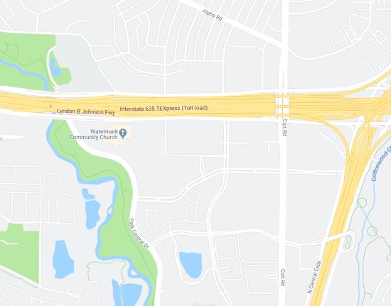 Map to find Watermark Community Church Dallas