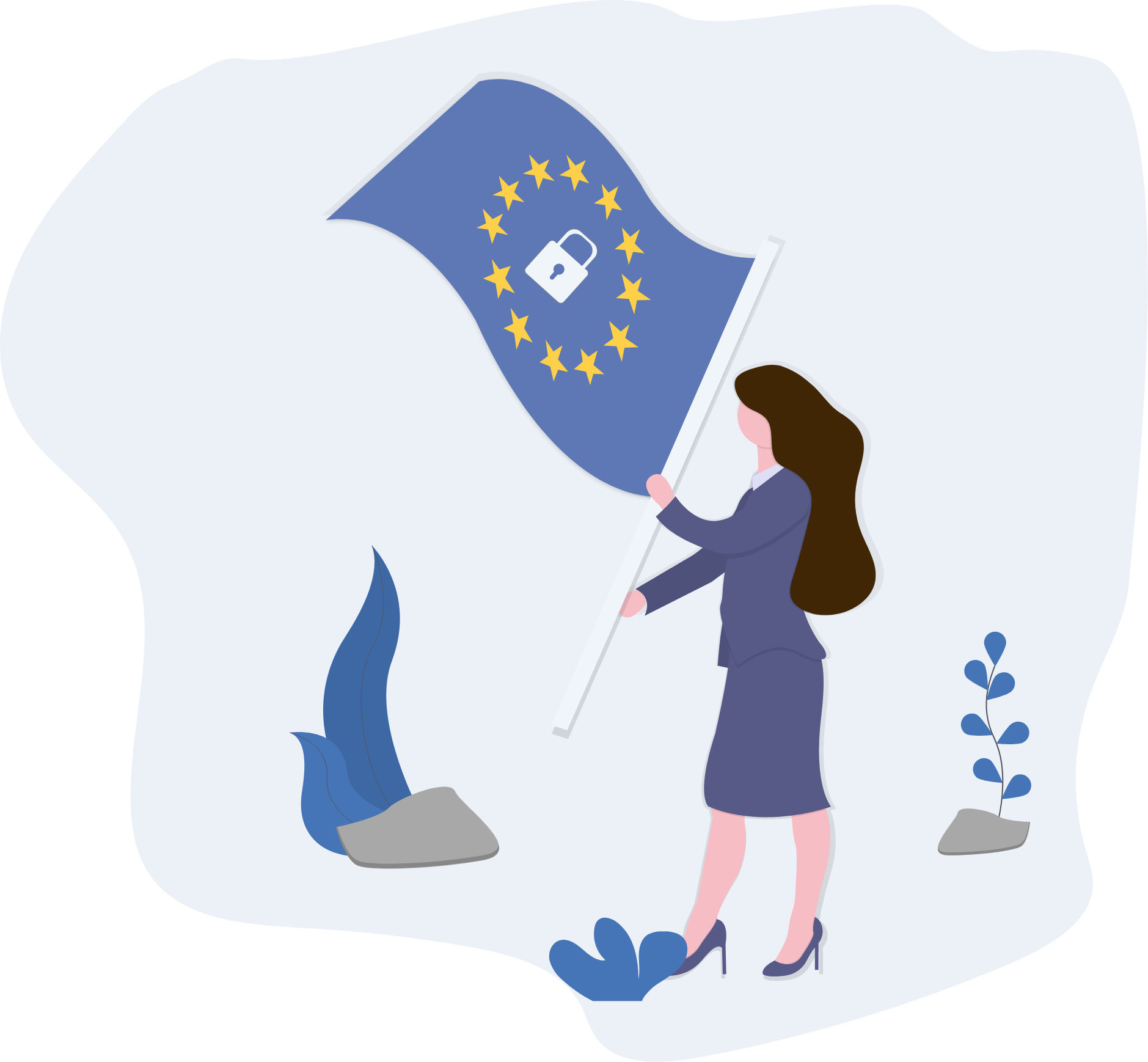 woman holding EU flag