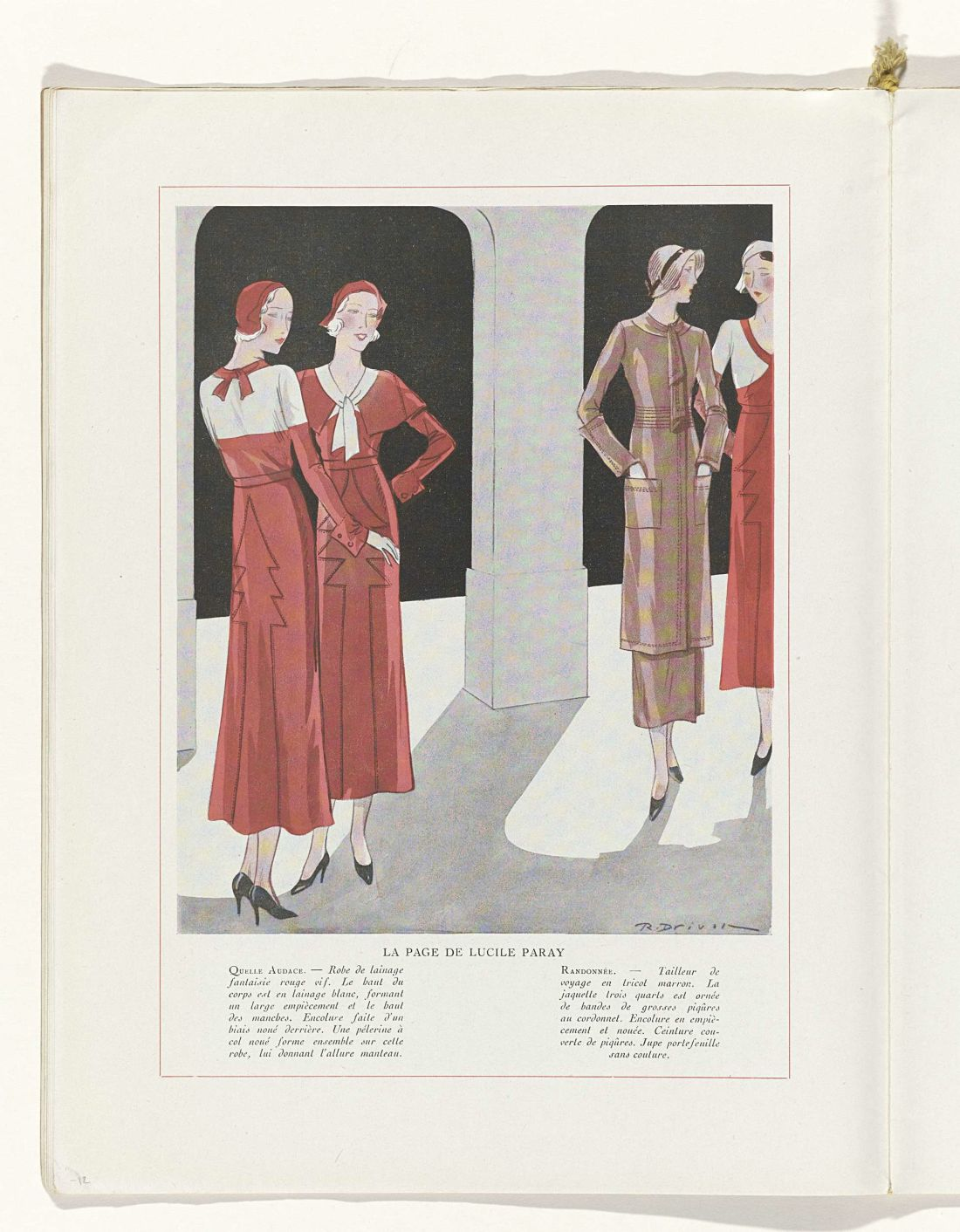 a page from a fashion magazine with a stylised drawing of women in red dresses and heels, one woman in a brown suit dress.