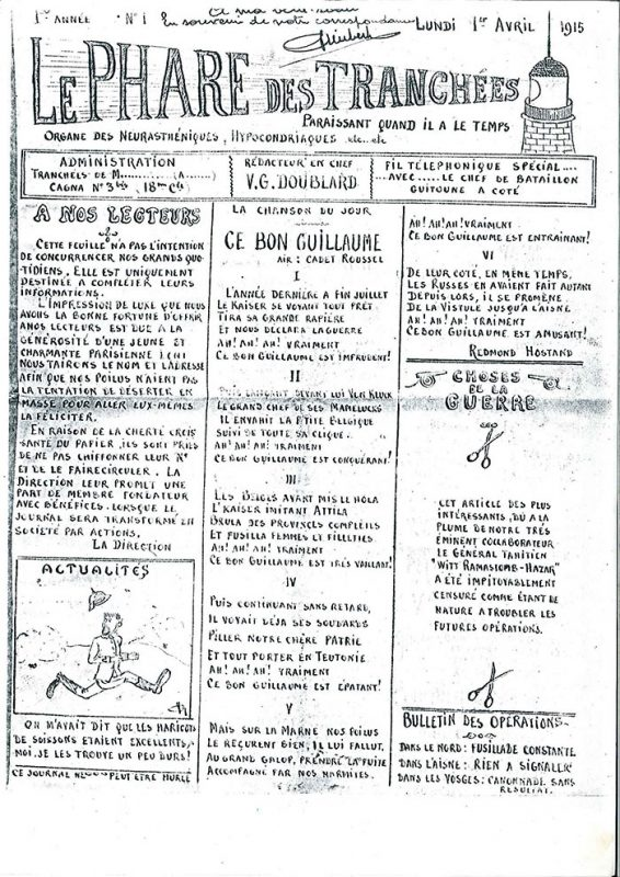 amateur newspaper called Le Phare des Trachees