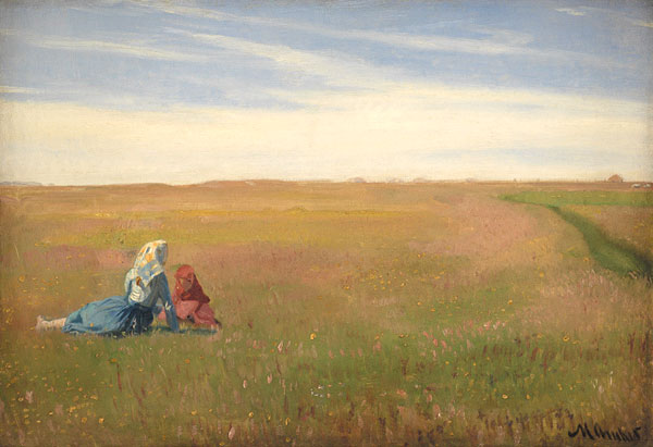 painting showing two children sitting in a field