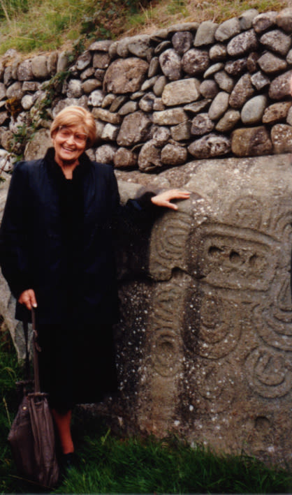 Photograph of Marija Gimbutas at the back of Newgrange, Co. Meath, Ireland