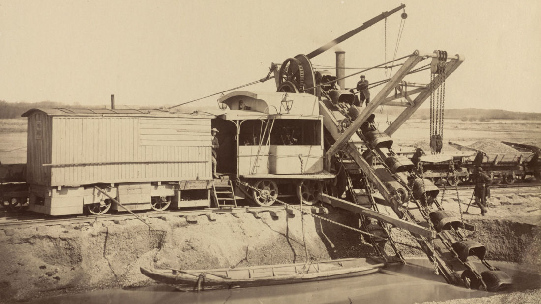 Photo of engineering works on the Danube river from 1873