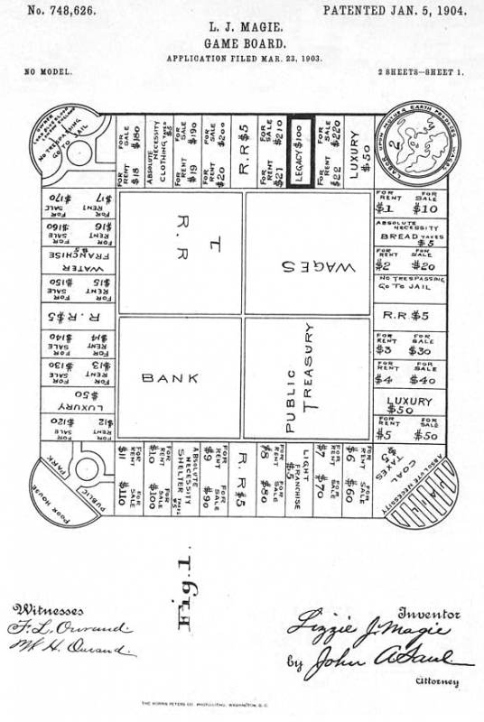 By Drawing for a Game Board, 01/05/1904. This is the printed patent drawing for a game board invented by Lizzie J. Magie. From the U.S. National Archives. Public domain.  Source: Brian0918 Wikimedia Commons