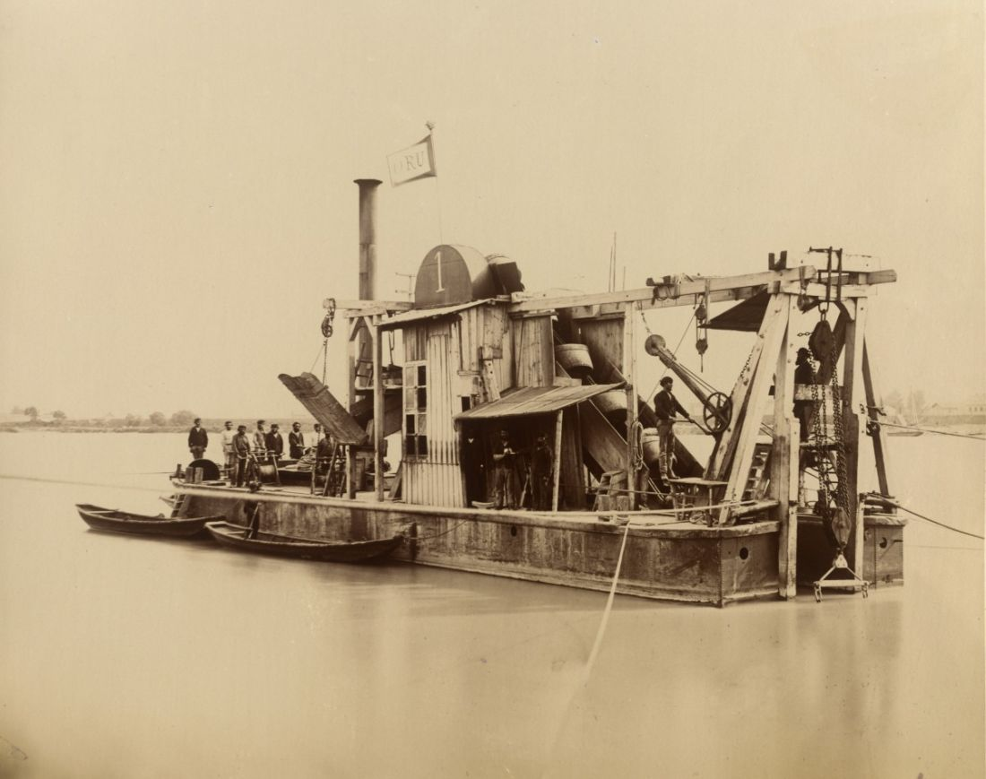 Boat from Danube Regulation Enterprise working on the river in 1873