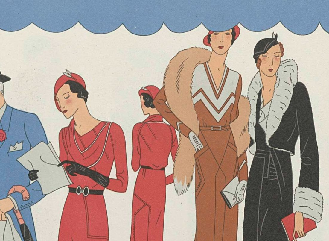 part of the front cover of a fashion magazine: stylised drawings of sleek women in fashionable thirties outfits