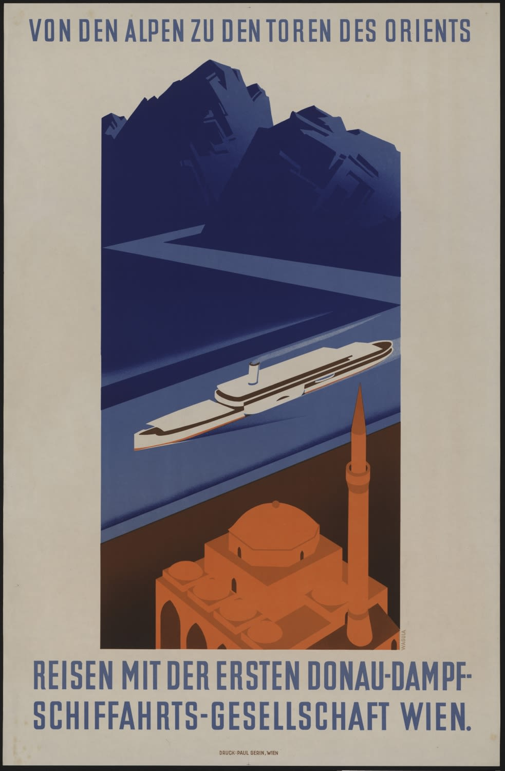 Advertising poster for Danube trips with the First Danube Steamship Company