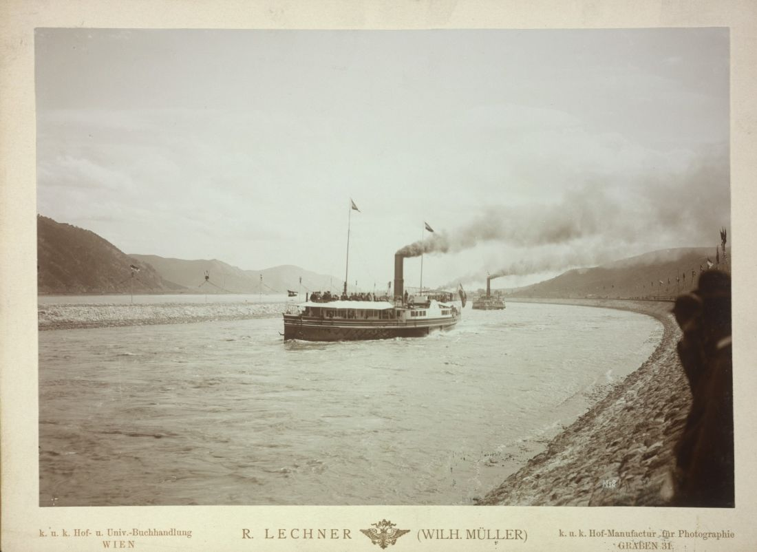 """The Danube ship """"Sophie"""" during the opening of the regulated stretch of the Danube at the Iron Gate near Orsova, 1896"""