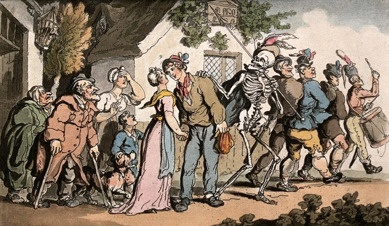 V0042011 The dance of death: the recruit. Coloured aquatint by T. Row Credit: Wellcome Library, London. Wellcome Images images@wellcome.ac.uk http://wellcomeimages.org The dance of death: the recruit. Coloured aquatint by T. Rowlandson, 1816. 1816 By: Thomas RowlandsonPublished: - Copyrighted work available under Creative Commons Attribution only licence CC BY 4.0 http://creativecommons.org/licenses/by/4.0/
