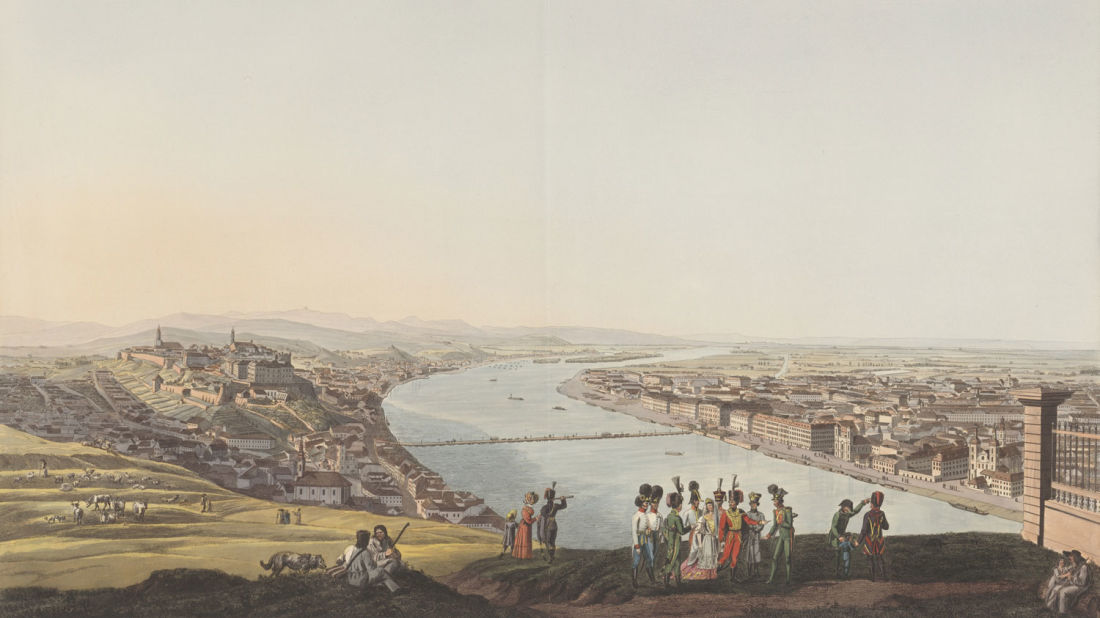 Illustration of the view of Danube river