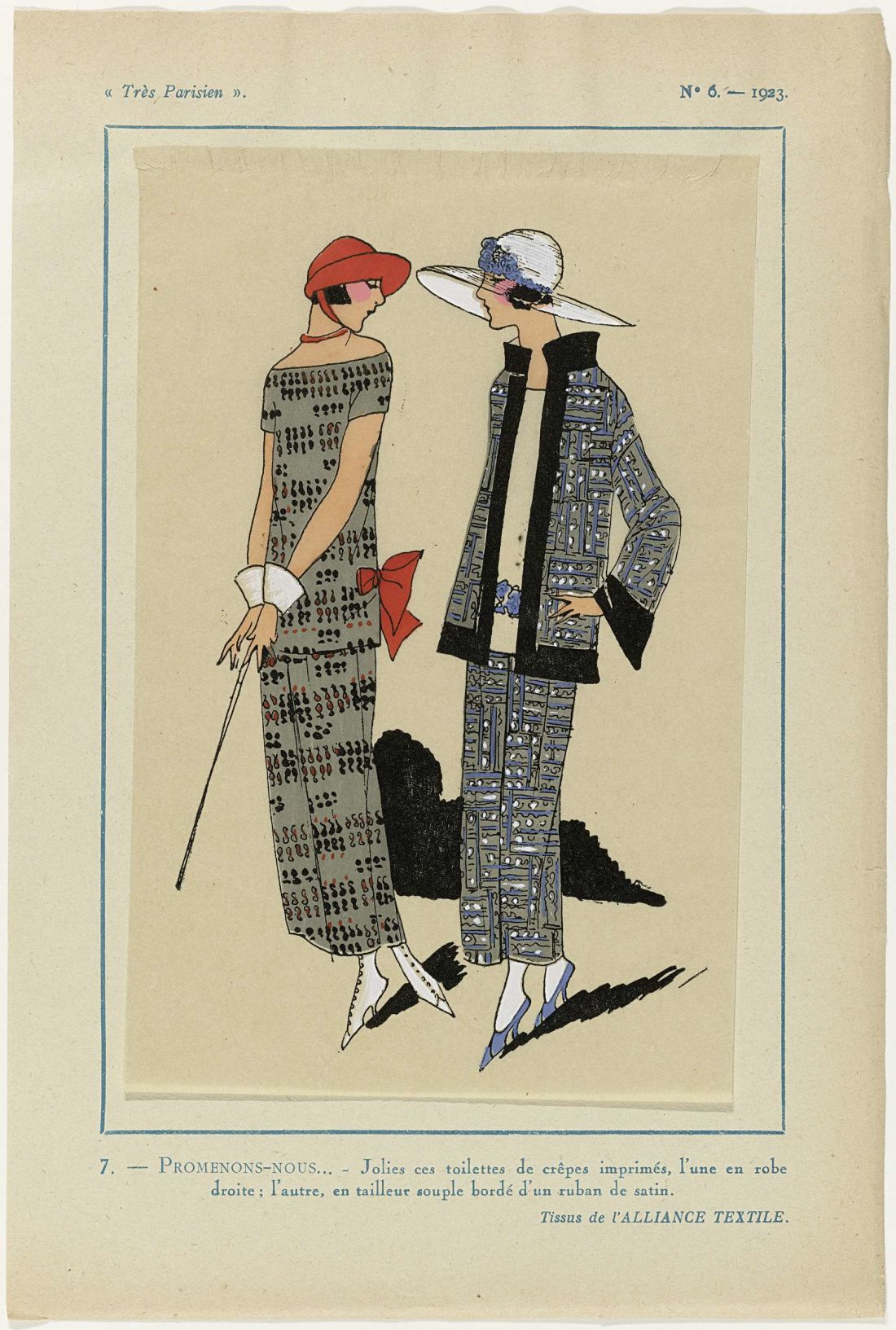 a page from a fashion magazine, with a stylised drawing of a woman wearing a dress and another woman wearing what looks like a silk patterned suit.
