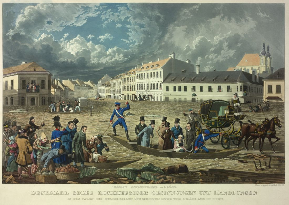 Emperor Franz II./I. inspects the damage caused by the flood in the Rossau in March 1830