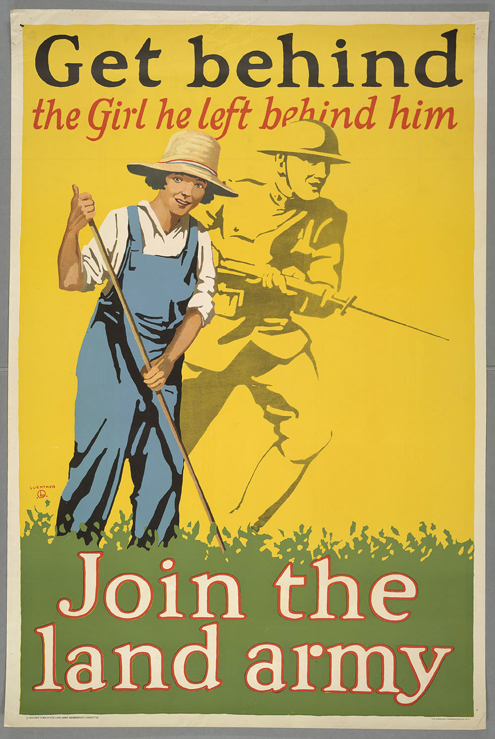 colour poster with a yellow background, a woman working on green grass with a soldier's silhouette behind her and the words 'Get behind the girl he left behind him join the land army'
