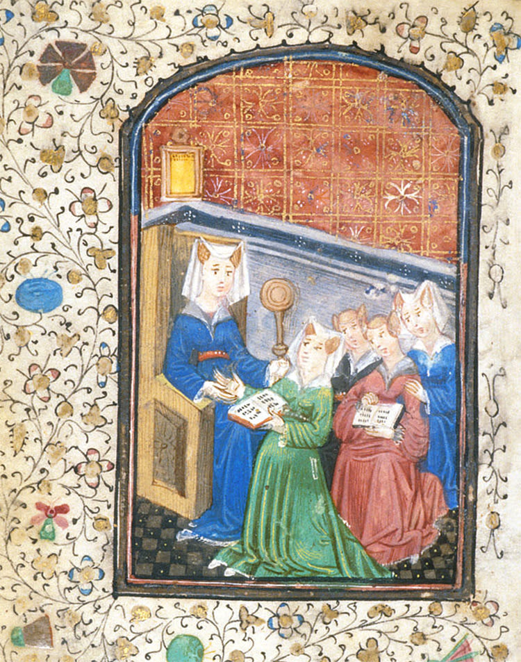 colour illustration from a manuscript showing a woman teaching a number of children