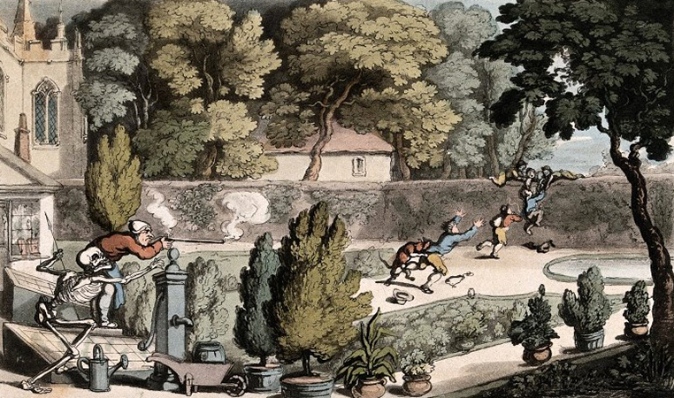 V0042006 The dance of death: the urchin robbers. Coloured aquatint by Credit: Wellcome Library, London. Wellcome Images images@wellcome.ac.uk http://wellcomeimages.org The dance of death: the urchin robbers. Coloured aquatint by T. Rowlandson, 1816. 1816 By: Thomas RowlandsonPublished: - Copyrighted work available under Creative Commons Attribution only licence CC BY 4.0 http://creativecommons.org/licenses/by/4.0/