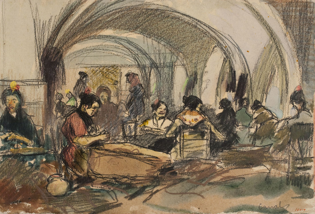 colour drawing showing a number of women working in a factory under stone arches