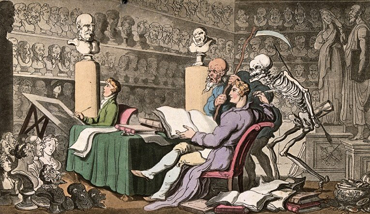 V0042018 The dance of death: time and death. Coloured aquatint by T. Credit: Wellcome Library, London. Wellcome Images images@wellcome.ac.uk http://wellcomeimages.org The dance of death: time and death. Coloured aquatint by T. Rowlandson, 1816. 1816 By: Thomas RowlandsonPublished: - Copyrighted work available under Creative Commons Attribution only licence CC BY 4.0 http://creativecommons.org/licenses/by/4.0/