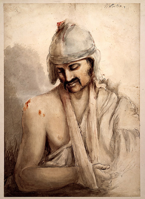 Soldier-with-bandaged-head-and-arm-in-a-sling