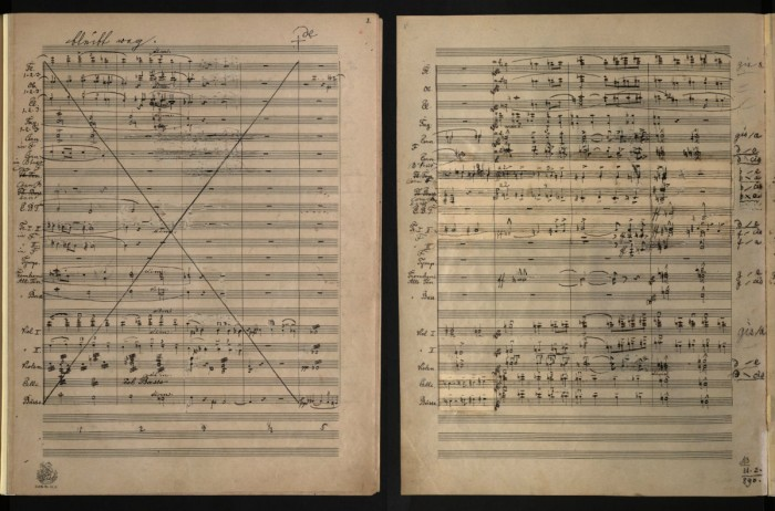 "In those two pages from the first movement of Bruckner's 8th Symphonie, you can see on the left page how he crossed out a four bar long passage writing ""bleibt weg"" (omitted). On the right page – how Bruckner revised and changed parts of the score. (Mus.Hs.19480 Mus), Austrian National Library – Public Domain."