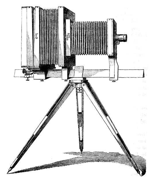 illustration of a early camera sitting upon a tripod