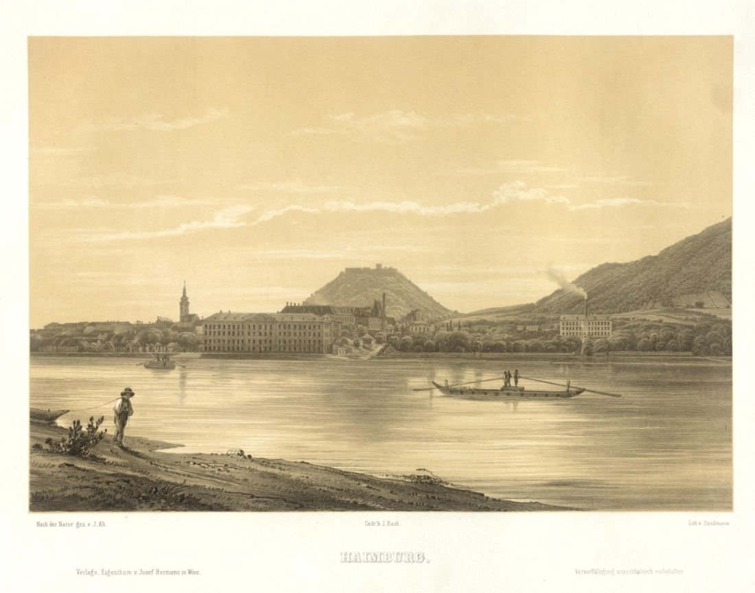 View on the Danube river from Hainburg, ca 1850