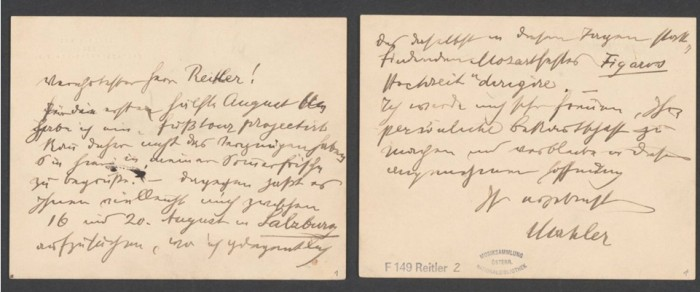 A postcard letter from Gustav Mahler to his friend Josef Reitler in summer of 1906 (F149.Reitler.2 Mus) Austrian National Library – Public Domain.