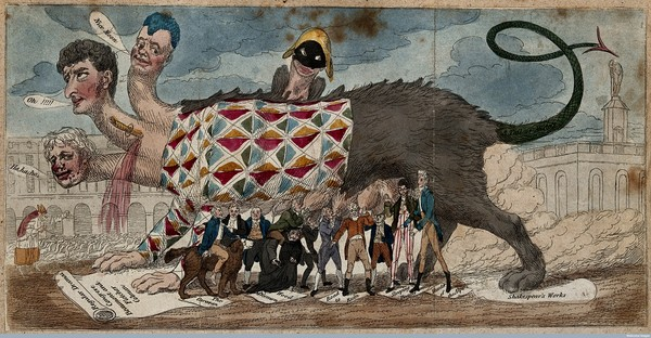 Interbreeding of the theatre Credit: Wellcome Library, London. Wellcome Images images@wellcome.ac.uk A monster representing the state of the theatre through the interbreeding of tragedy, comedy, and pantomime. CC BY 4.0