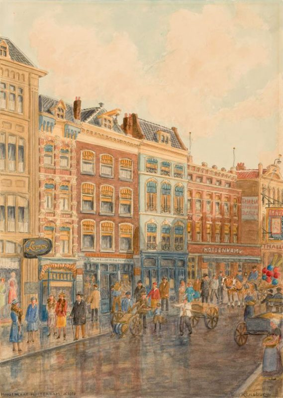 painting showing a busy city street