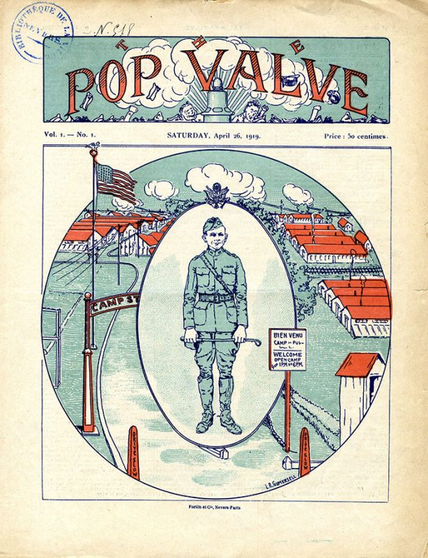 newspaper with illustration of soldier and camp on the cover