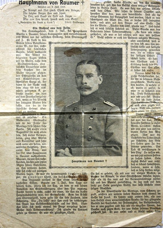 newspaper clipping with a photograph of a soldier