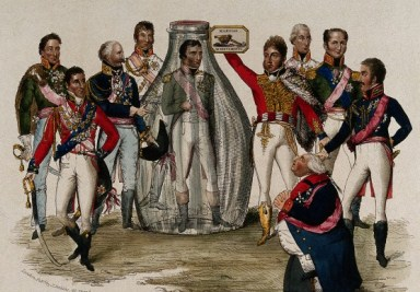 'European royals and martial heroes marvel at the sight of the defeated Napoleon Bonaparte standing in a glass bottle in their midst', Wellcome Library, London