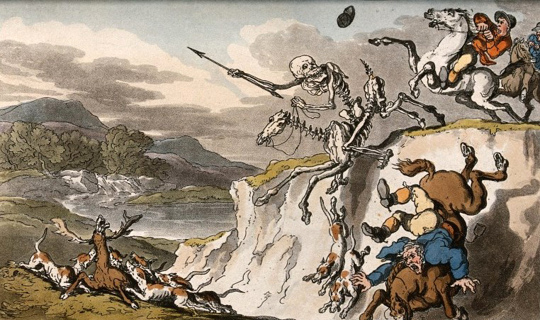 V0042017 The dance of death: the last chase. Coloured aquatint by T. Credit: Wellcome Library, London. Wellcome Images images@wellcome.ac.uk http://wellcomeimages.org The dance of death: the last chase. Coloured aquatint by T. Rowlandson, 1816. 1816 By: Thomas RowlandsonPublished: - Copyrighted work available under Creative Commons Attribution only licence CC BY 4.0 http://creativecommons.org/licenses/by/4.0/