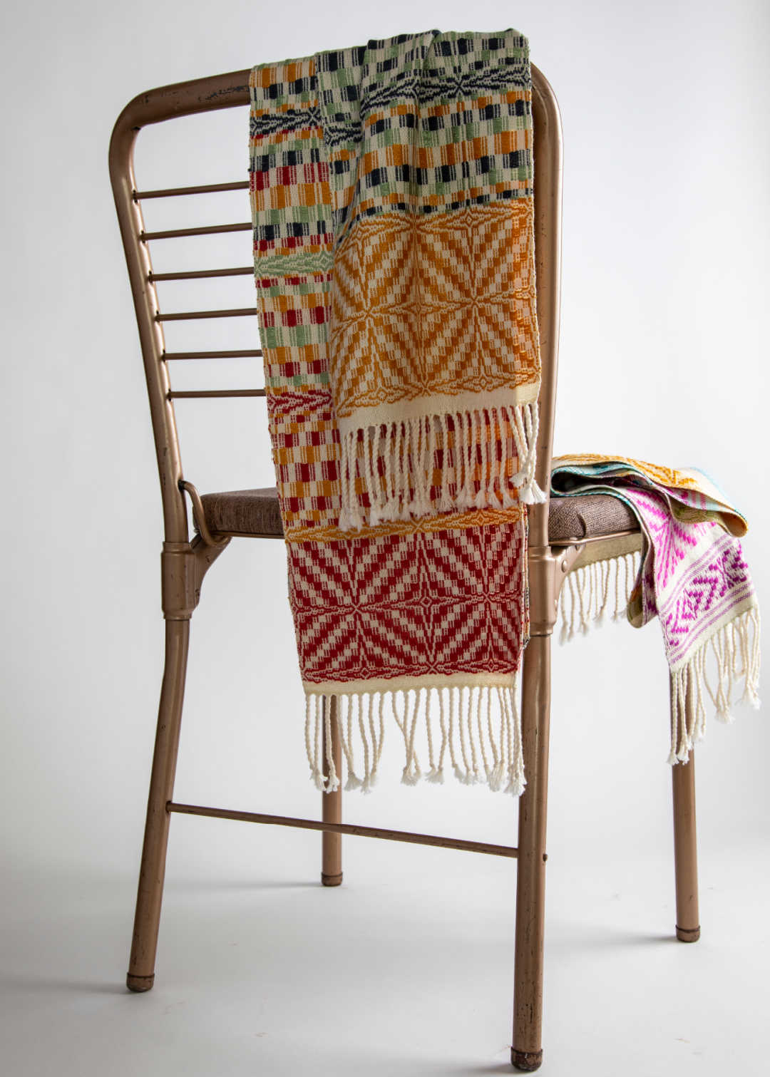 Overshot redux scarf on chair