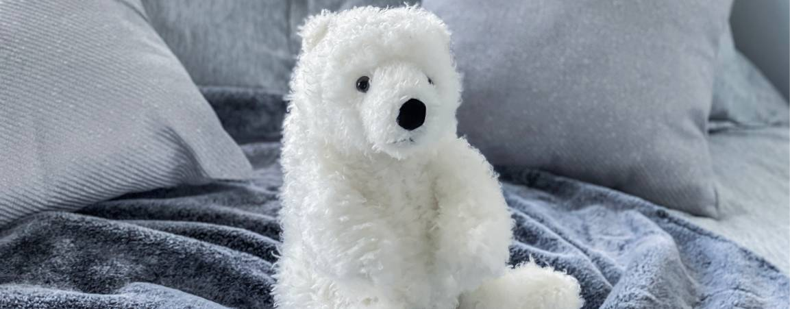 Polar bear plush from the Adopt a Polar Bear program