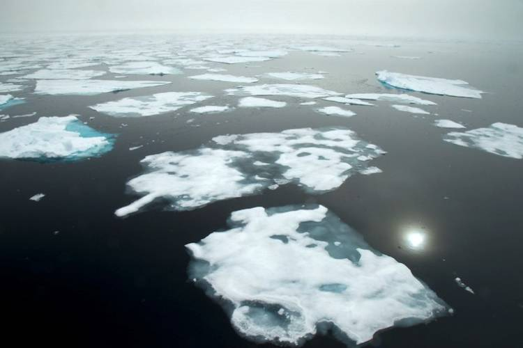 Overview of Arctic waters with melting sea ice.