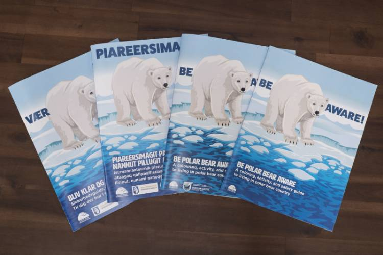 """Four polar bear safety coloring books in different languages"""""""