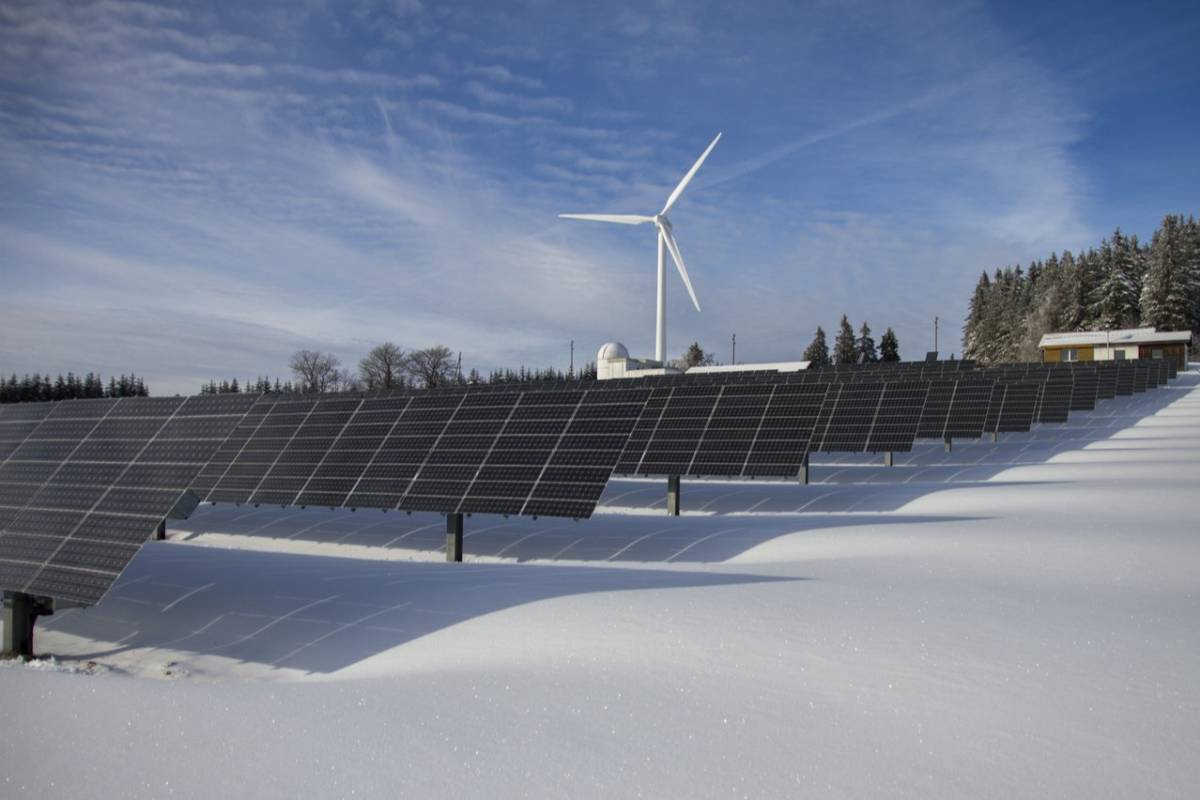 Wind turbines and solar panels in the arctic
