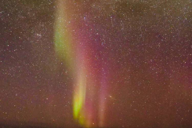 Rare red and purple northern lights.